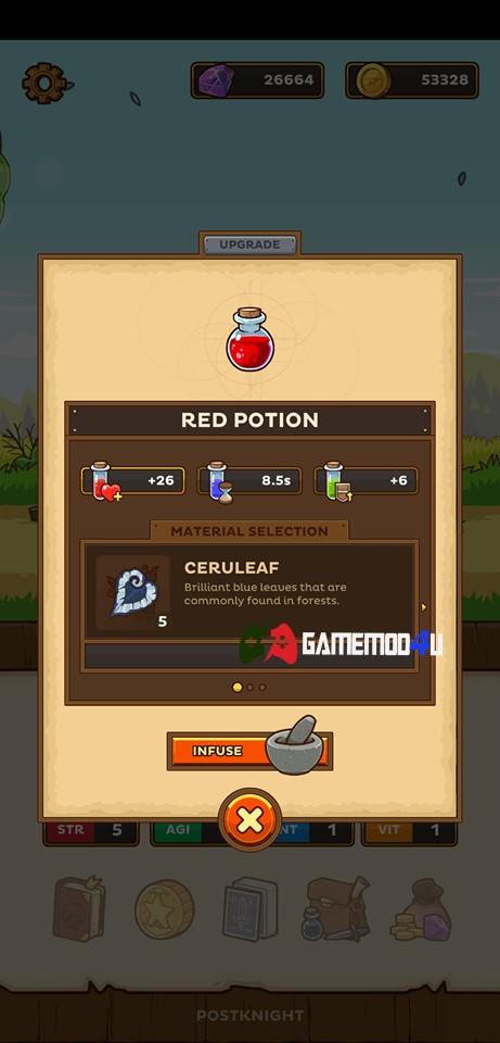 Tính năng chế tạo vật phẩm trong game Postknight mod
