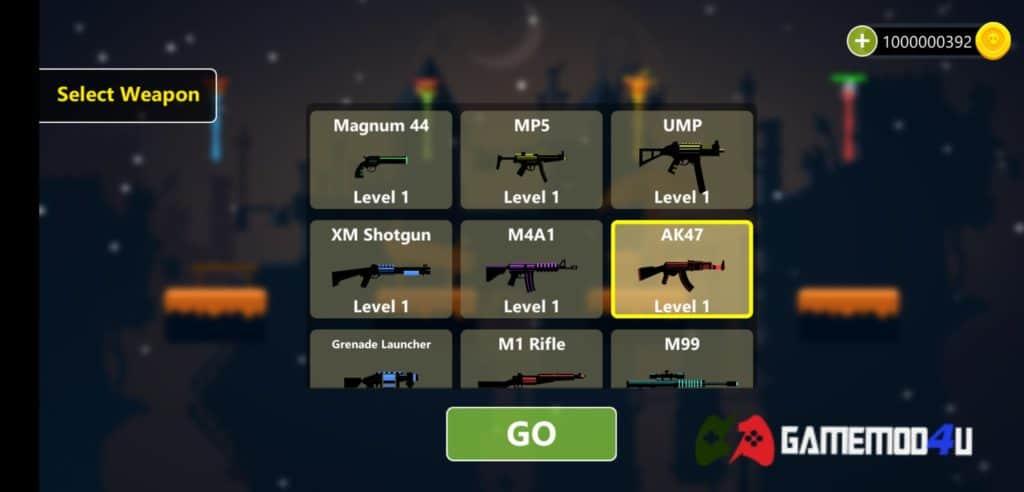 Vũ khí trong game Stickfight Infinity mod full tiền