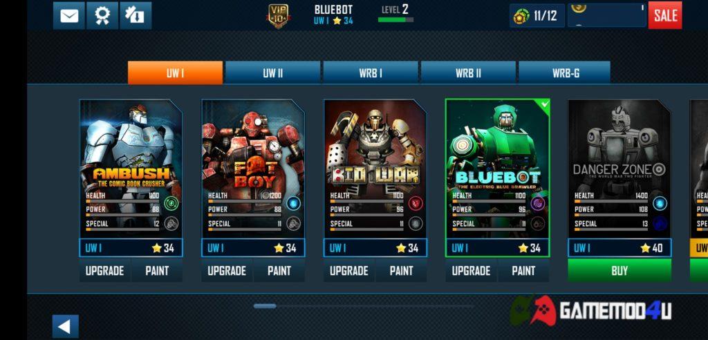 Có rất nhiều robot khác nhau trong game Real Steel World Robot Boxing mod free shop