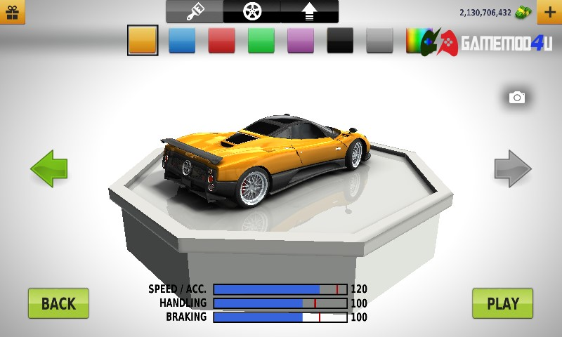 Có thể thay đổi màu xe tùy thích trong game Traffic Racer mod full tiền