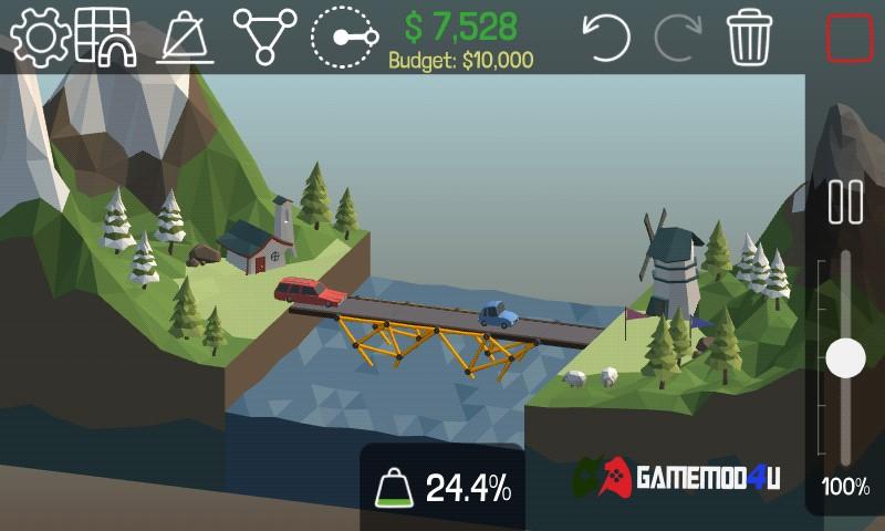Hình ảnh trong game Poly Bridge mod apk full cho Android