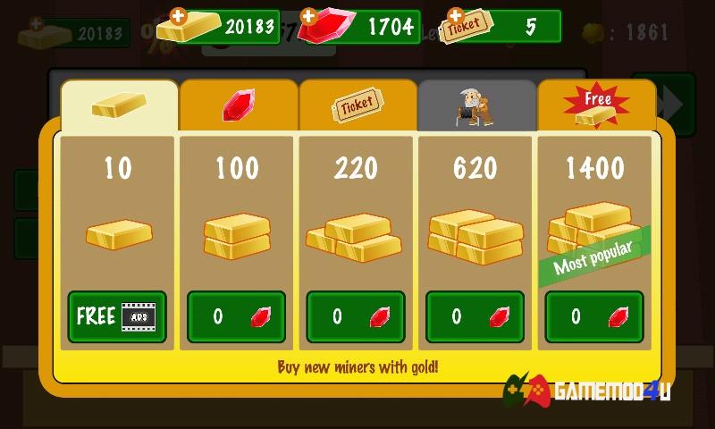 Tính năng đào vàng mod full tiền (free shopping) cho Android