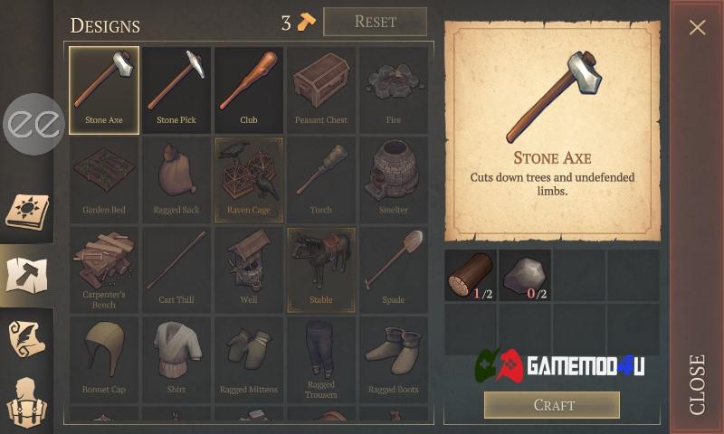 Tính năng craft đã được mod sẵn trong game Grim Soul mod menu