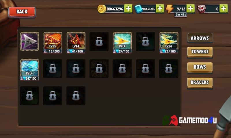 Các tính năng có trong game Archers Kingdom TD mod full tiền