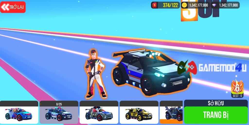 Có nhiều skin khác nhau cho từng loại xe trong SUP Multiplayer Racing mod full tiền