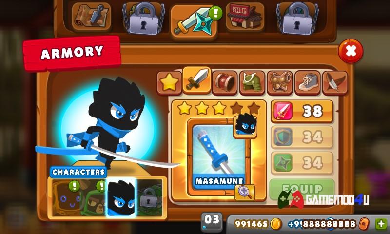Game Ninja Dash mod full tiền có nhiều nhân vật và tính năng thú vị