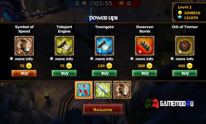 Mua những item trong game Legendary Heroes MOBA mod full tiền
