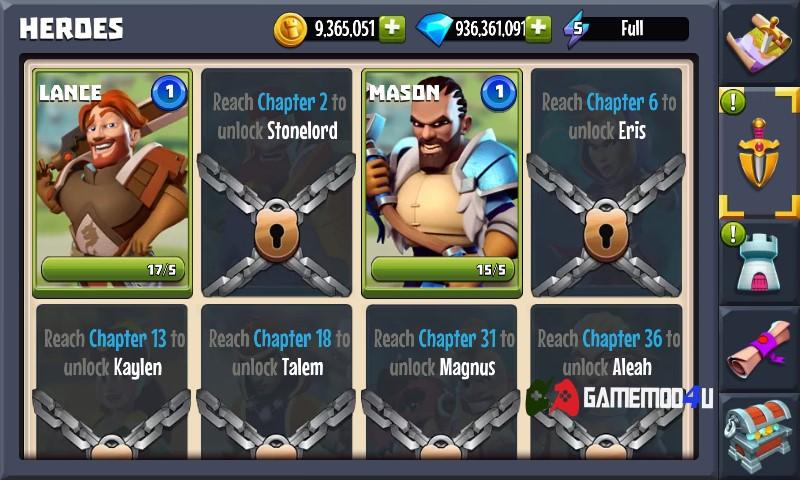 Các tướng có trong game Castle Creeps TD mod full tiền
