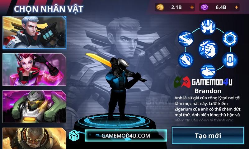 Có nhiều nhân vật dành cho người chơi lựa chọn trong Cyber Fighters mod full tiền