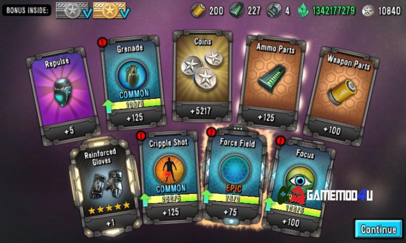 Mở rương nhận được nhiều phần quà trong Last Hope Sniper mod full tiền