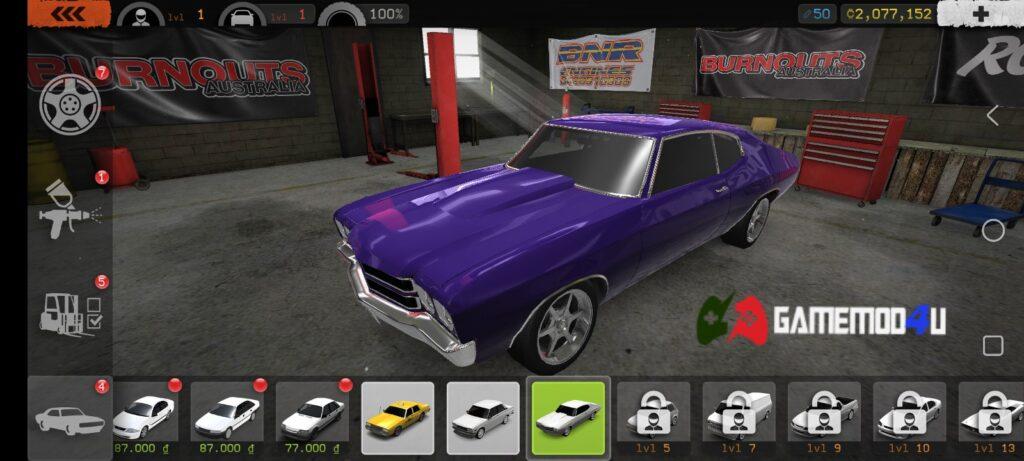 Có nhiều loại xe trong game Torque Burnout mod full tiền