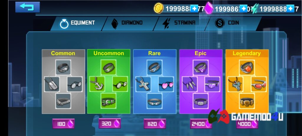 Có nhiều vật phẩm khác nhau trong Stickman Mafia Online mod full tiền