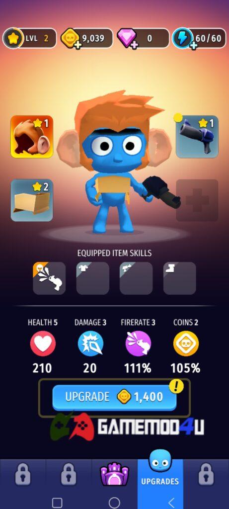 Tính năng nâng cấp nhân vật trong game Shoot n Loot mod full tiền
