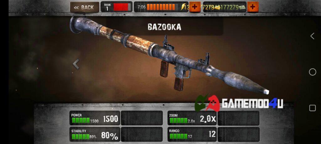 Vũ khí trong game Zombie Hunter Sniper mod full tiền