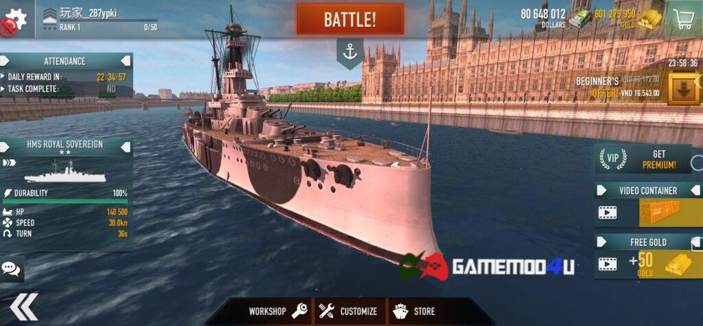 Đã chơi thử Battle of Warships mod full tiền cho điện thoại Android