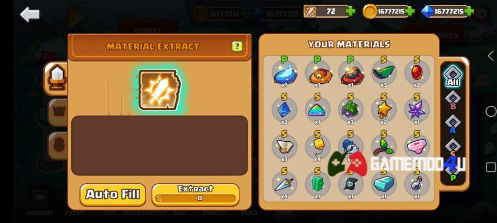 Nhiều vật phẩm thú vị trong Swordman Reforged mod full tiền