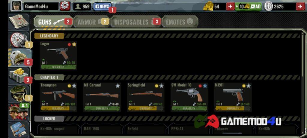Hệ thống vũ khí đa dạng trong game World War Polygon mod