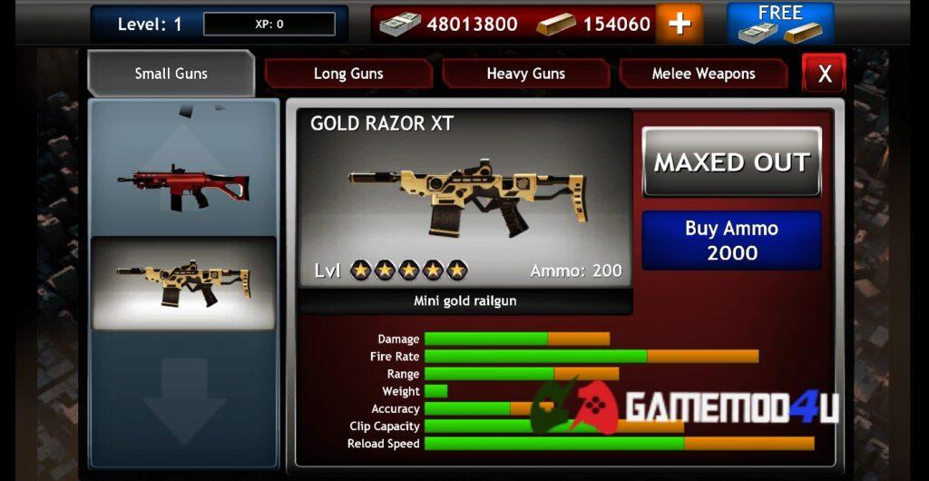 Có nhiều vũ khí cùng với tính năng nâng cấp trong game Zombie Objective mod full tiền