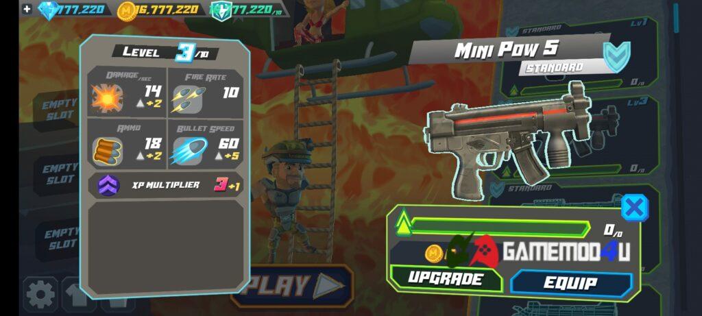 Có thể nâng cấp vũ khí trong Major Mayhem 2 mod full tiền