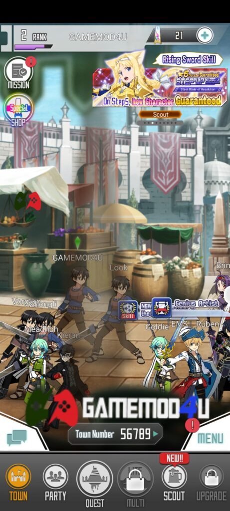 Đã test tựa game SWORD ART ONLINE Memory Defrag mod apk menu