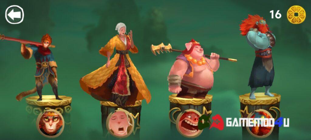 Game Unruly Heroes mod apk có nhiều nhân vật vật lựa chọn