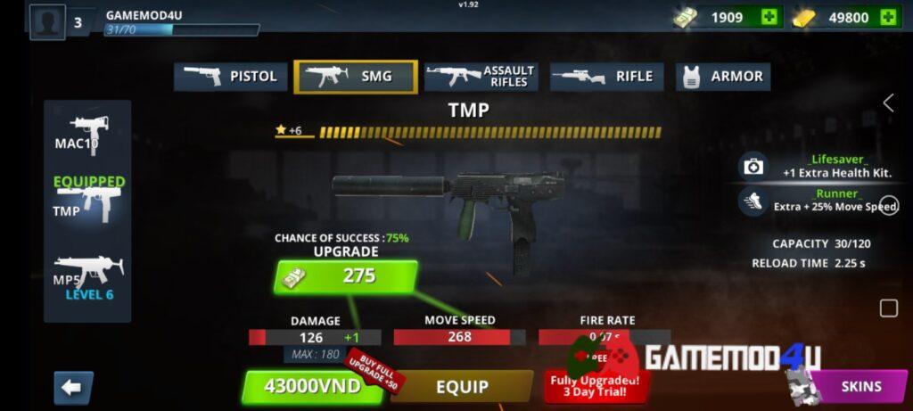 Tính năng nâng cấp súng trong Special Ops mod full tiền