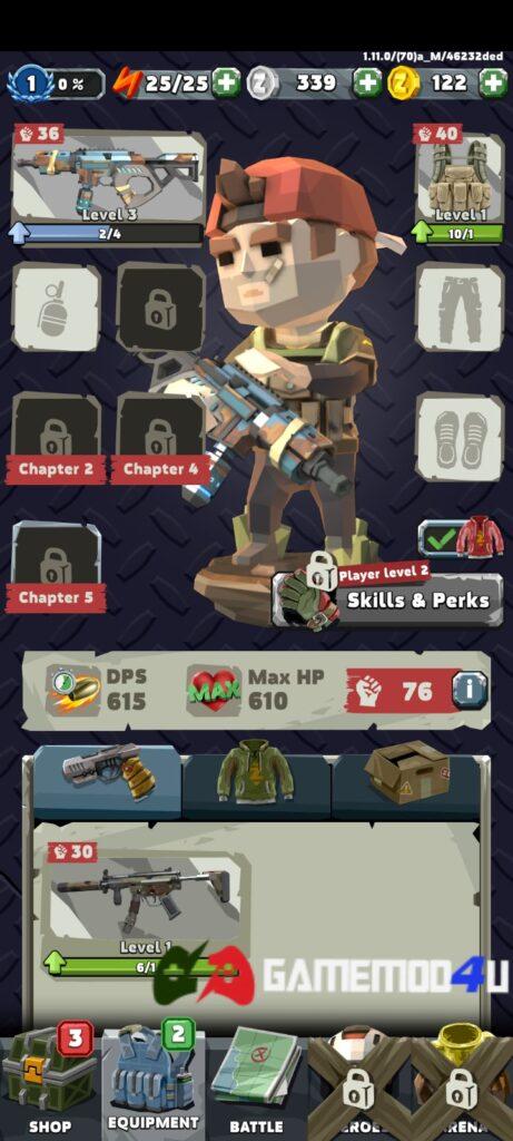 Game Zombero Archero Hero Shooter mod menu có nhiều tính năng thú vị