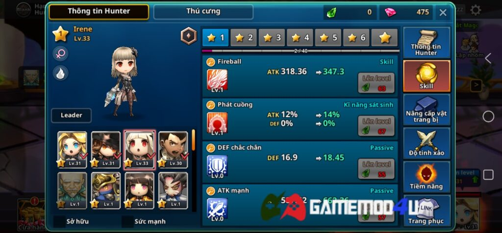 Mua sắm miễn phí hero trong game Dungeon Breaker Heroes mod full