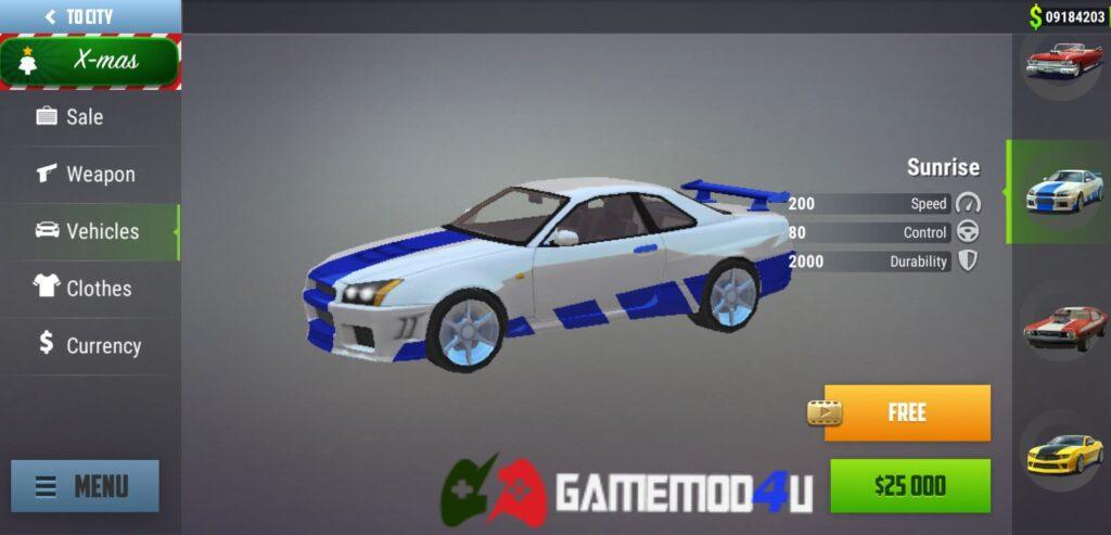 Nhiều loại xe đẹp khác nhau trong Gangs Town Story mod full tiền