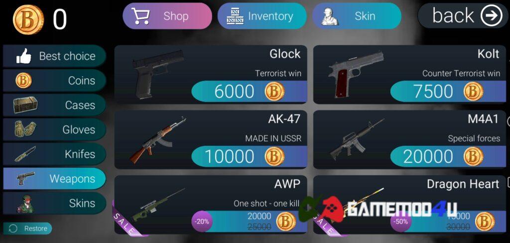 Nhiều vũ khí hấp dẫn trong Bhop GO mod full tiền (mua sắm miễn phí)