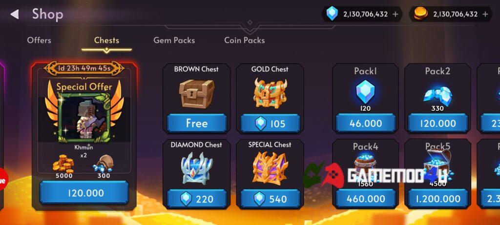 Tính năng Blok Warriors mod full tiền có thể mua sắm mọi thứ