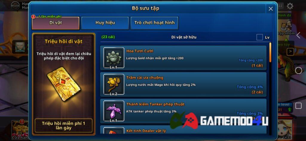 Tính năng mua sẵm miễn phí trong Dungeon Breaker Heroes mod