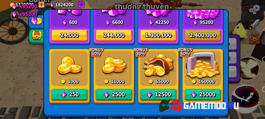 Tính năng mua sắm miễn phí trong Grow Titan.io mod full tiền