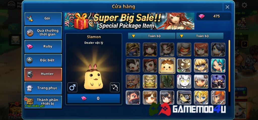 Tính năng mua sắm miễn phí trong game Dungeon Breaker Heroes mod full