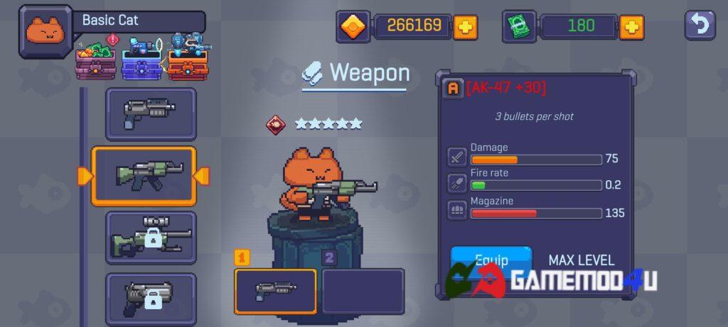 Nhiều vũ khí hấp dẫn trong Cat Gunner mod full tiền
