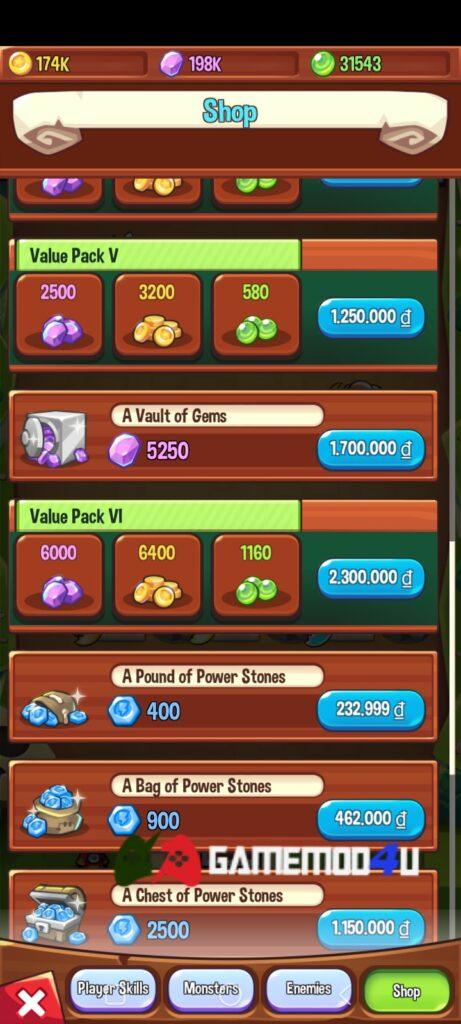 Tính năng mua sắm miễn phí trong game Summoner's Greed mod full tiền
