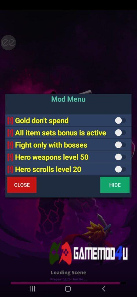 Menu mod của game Tap Titans 2 Mod