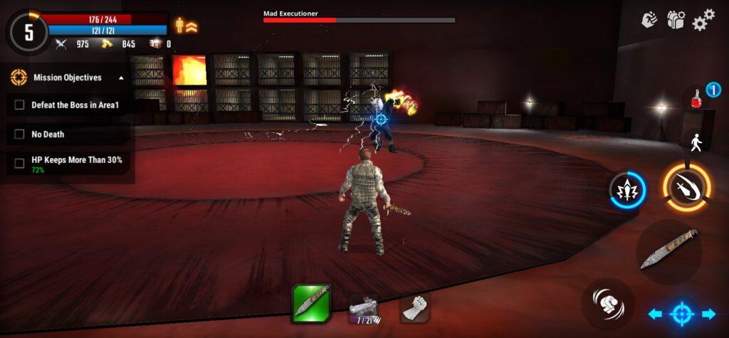 Chiến đấu với boss trong game Cyber War Cyberpunk Reborn