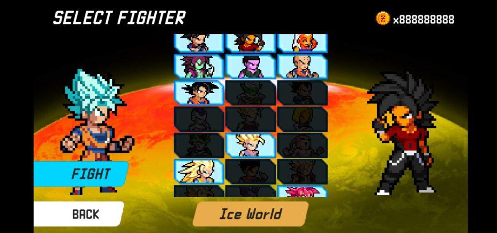 Lựa chọn nhân vật ưa thích khi chơi Dragon World Saiyan Warrior mod full tiền