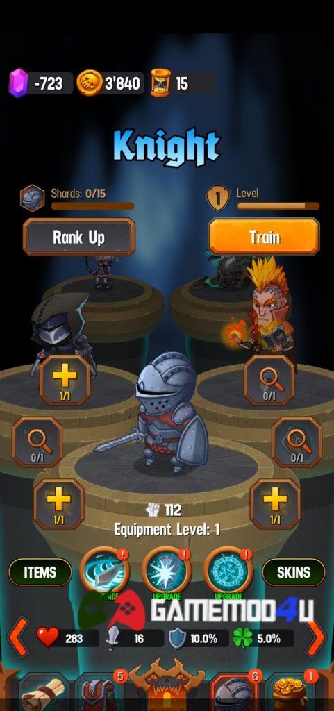 Nhân vật trong game Dungeon Age of Heroes mod full tiền
