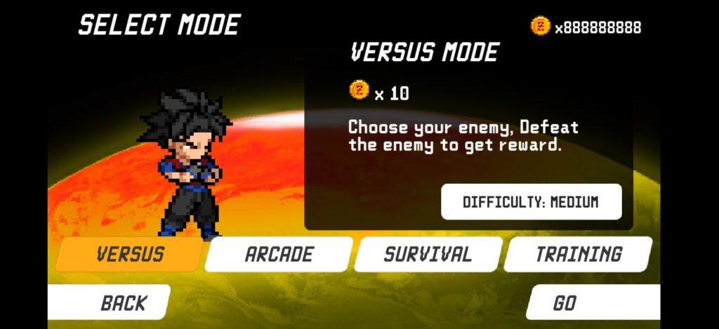 Nhiều chế độ chơi với lựa chọn cho người chơi trong Dragon World Saiyan Warrior mod full tiền
