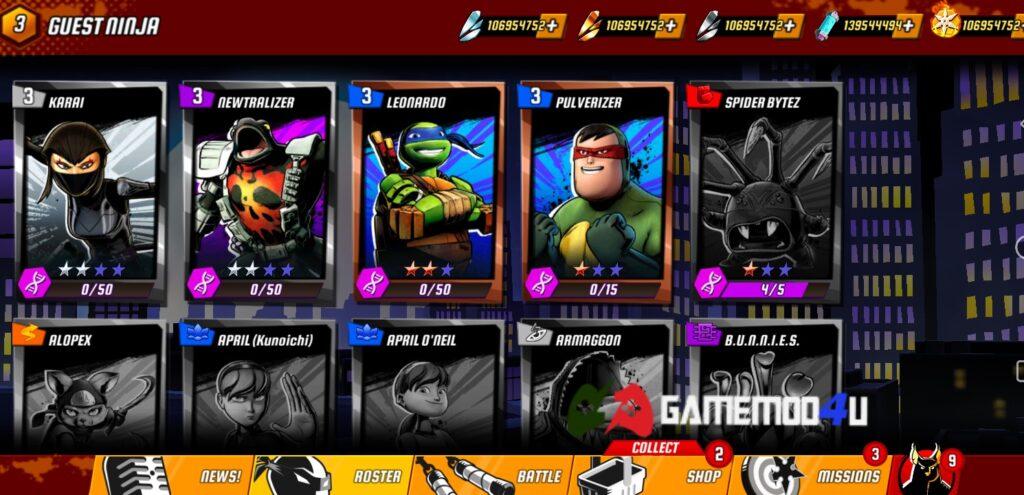 Nhiều nhân vật có trong game Ninja Turtles Legends mod full tiền