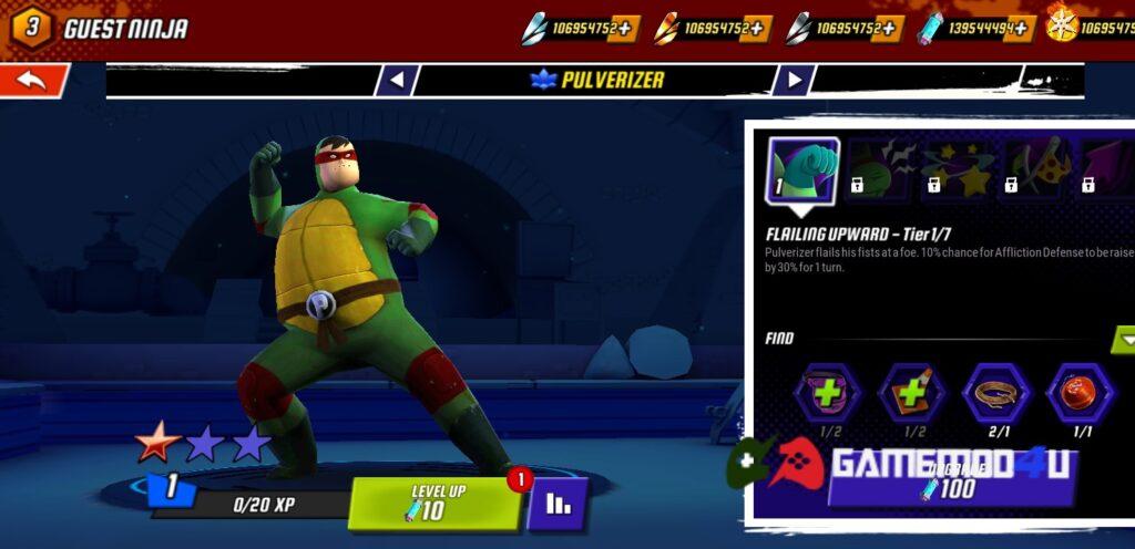 Nhiều tính năng hấp dẫn trong game Ninja Turtles Legends mod full tiền