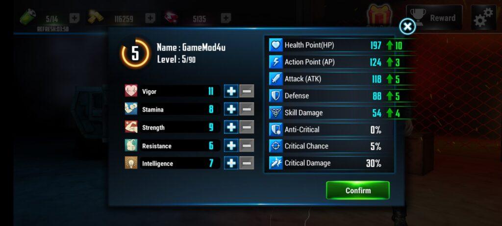 Nhiều tính năng thú vị trong Cyber War Cyberpunk Reborn mod full tiền
