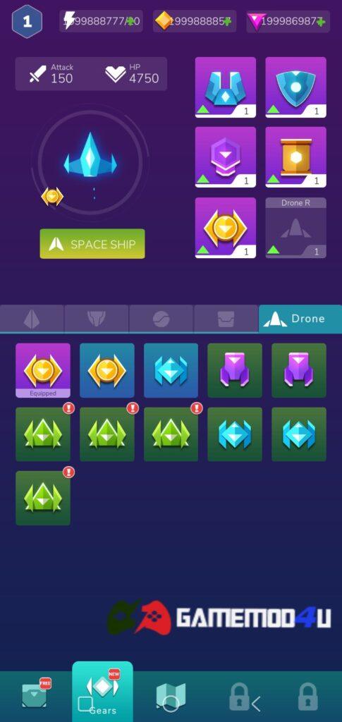 Nhiều vật phẩm thú vị trong game Shootero Space Shooting Attack mod full tiền
