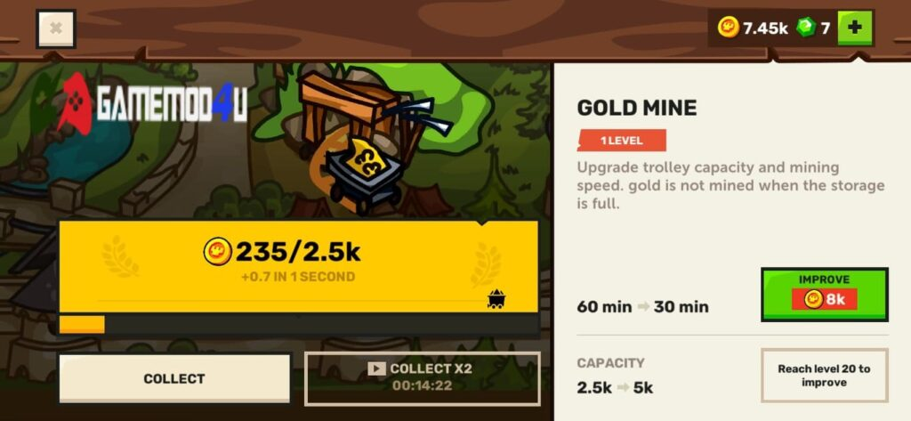 Khai thác vàng trong game Towerwall