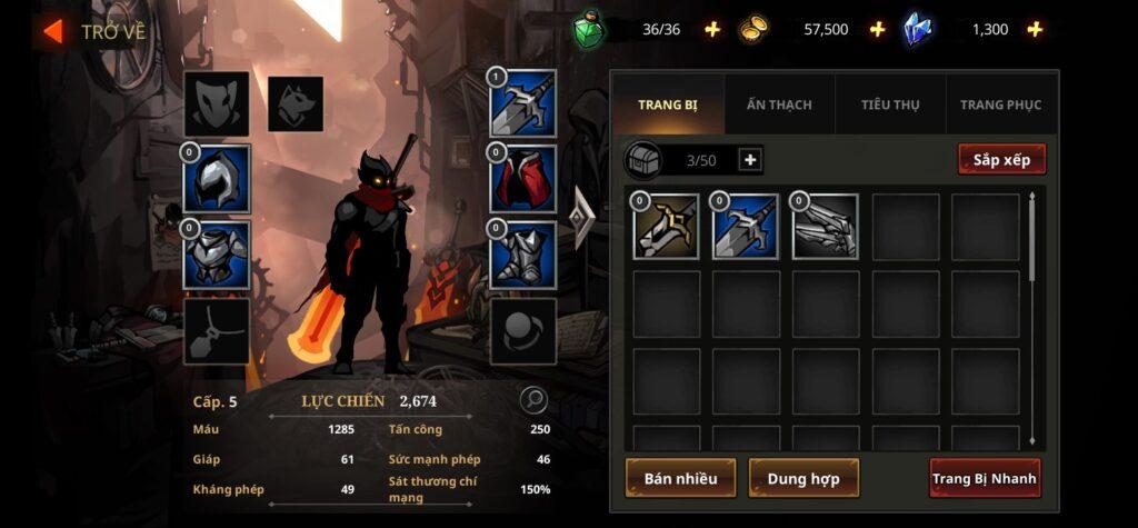 Nhân vật trong game Shadow Knight mod apk full