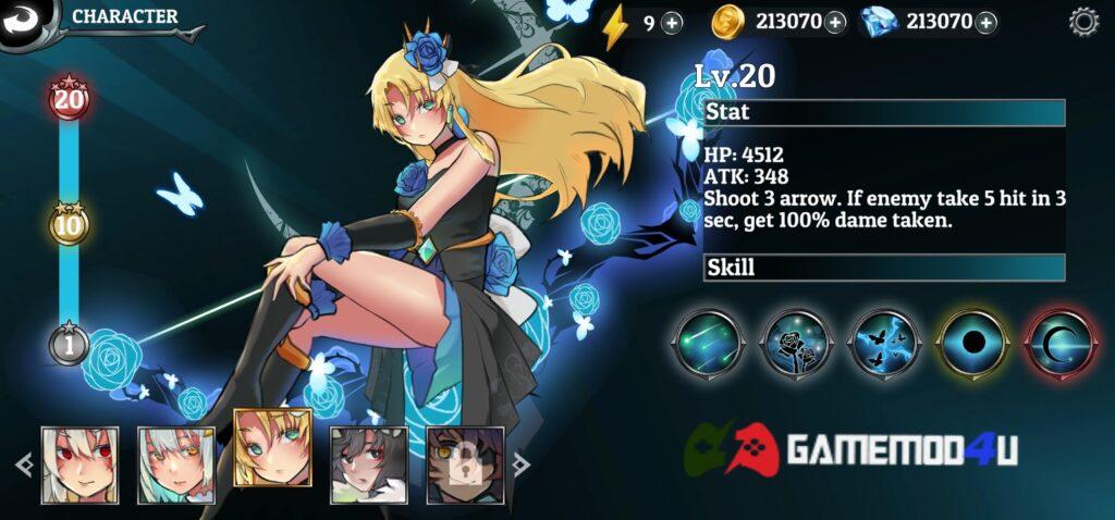 Nhiều nhân vật cho người chơi lựa chọn trong Goddess Archer mod full tiền