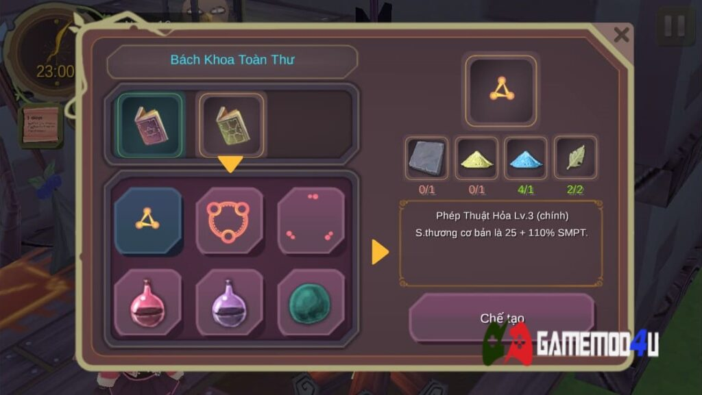 Bảng chế đồ trong game WitchSpring Mod