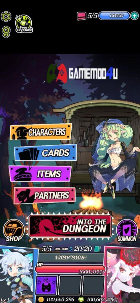 Giao diện game Dungeon & Girls Mod
